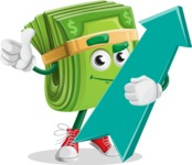 Dollar Bill Cartoon Money Vector Character - with Up arrow