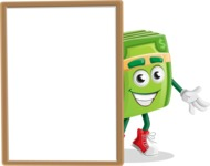 Dollar Bill Cartoon Money Vector Character - With Whiteboard and Smiling