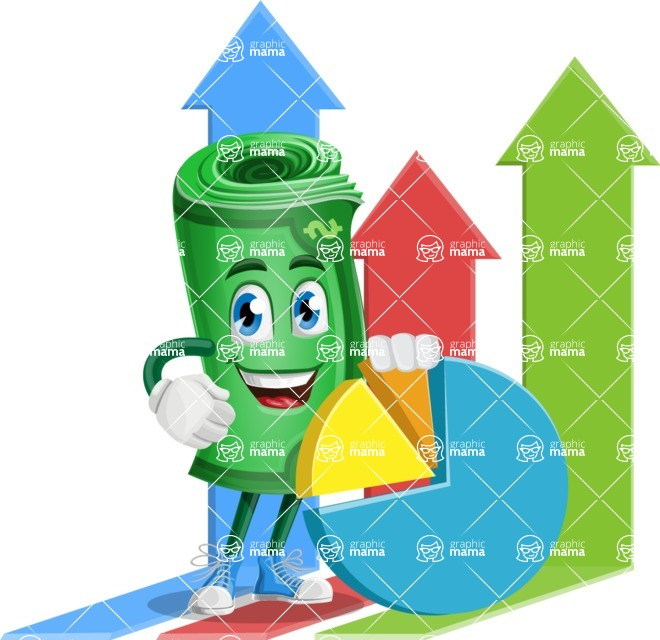 Money Cartoon Vector Character - 112 Illustrations - as Markering Specialist with Graphs Illustration