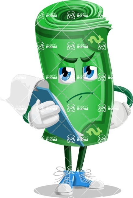 Money Cartoon Vector Character - Being Sad Holding a Notepad