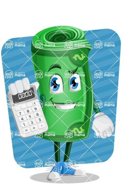 Money Cartoon Vector Character - Calculating with Background Illustration
