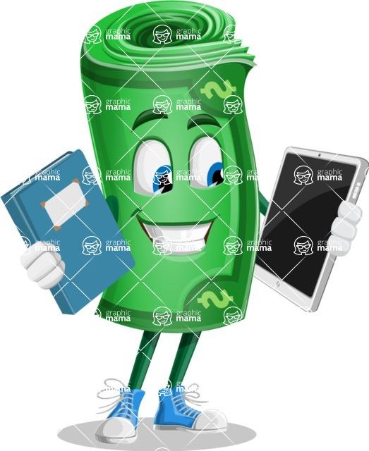 Money Cartoon Vector Character - 112 Illustrations - Choosing between Book and Tablet