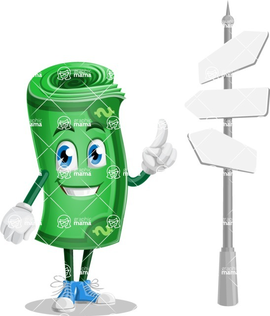 Money Cartoon Vector Character - 112 Illustrations - Choosing Way with Street Sign pointing in all directions