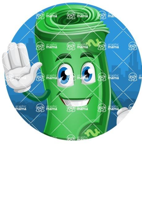 Money Cartoon Vector Character - Circle Sticker Template