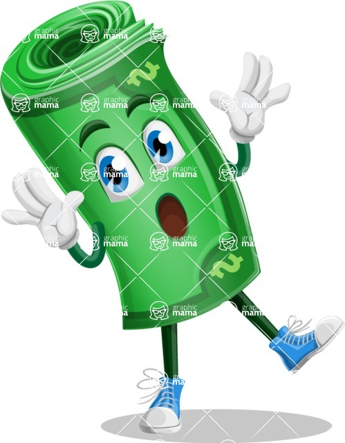Money Cartoon Vector Character - Feeling Shocked