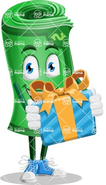 Money Cartoon Vector Character - 112 Illustrations - Holding a Gift