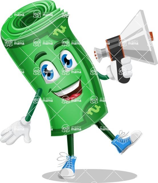 Money Cartoon Vector Character - 112 Illustrations - Holding a Loudspeaker