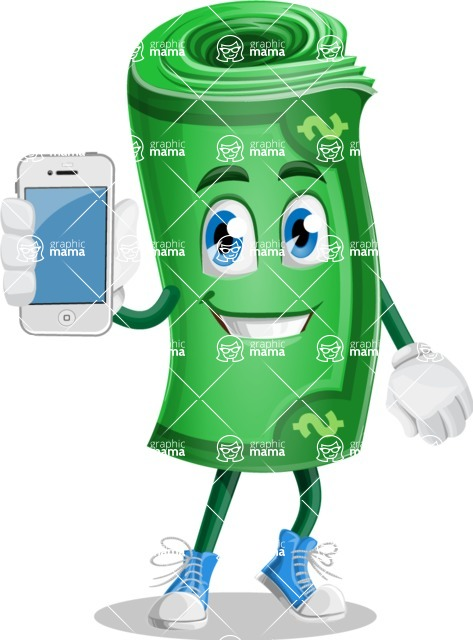 Money Cartoon Vector Character - 112 Illustrations - Holding a Mobile Phone