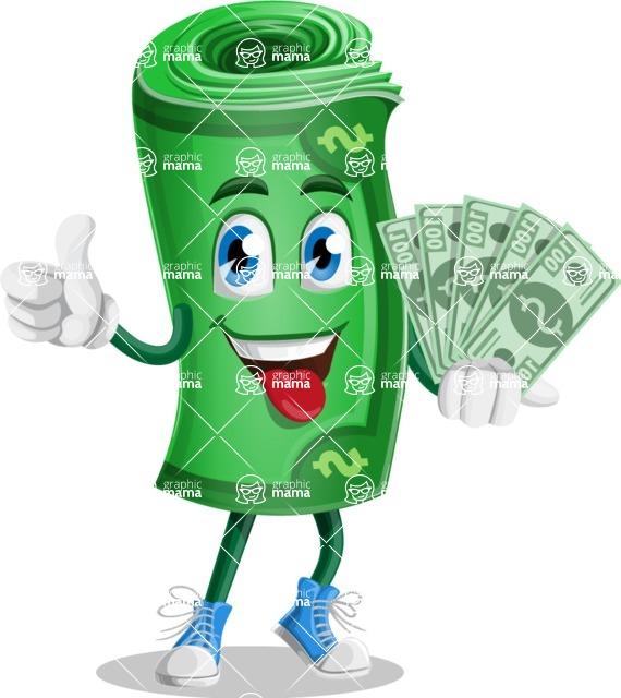 Money Cartoon Vector Character - Holding Cash Money Banknotes