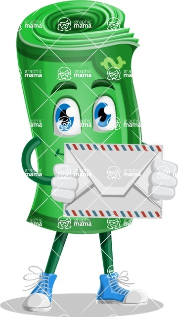 Money Cartoon Vector Character - 112 Illustrations - Holding Mail Envelope
