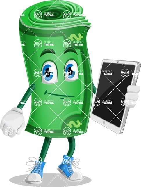 Money Cartoon Vector Character - Holding Tablet