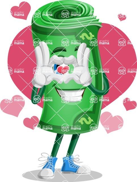 Money Cartoon Vector Character - Love Money Illustration