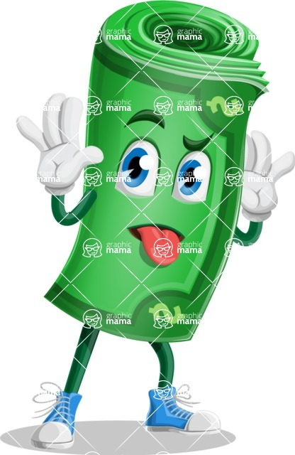 Money Cartoon Vector Character - Making a Funny Face