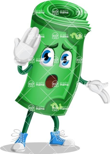 Money Cartoon Vector Character - Making Oops gesture