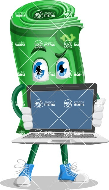 Money Cartoon Vector Character - Showing a Blank Computer Screen