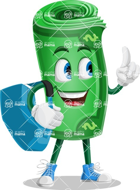 Money Cartoon Vector Character - Traveling with Suitcase