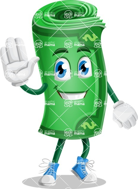 Money Cartoon Vector Character - 112 Illustrations - Waving for Hello with a Smiling Face