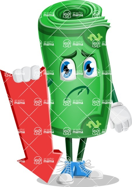 Money Cartoon Vector Character - 112 Illustrations - With Arrow going Down