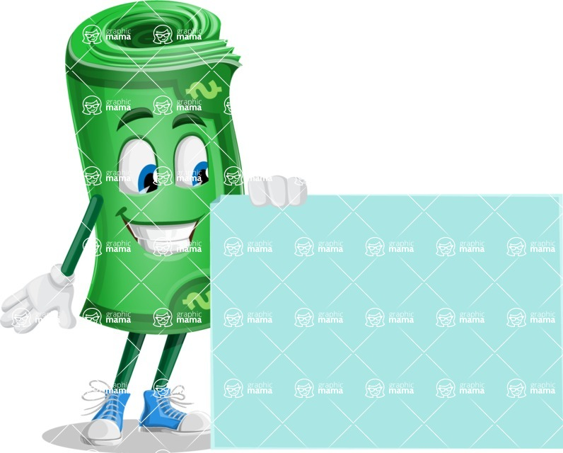 Money Cartoon Vector Character - 112 Illustrations - With Blank Presentation Sign