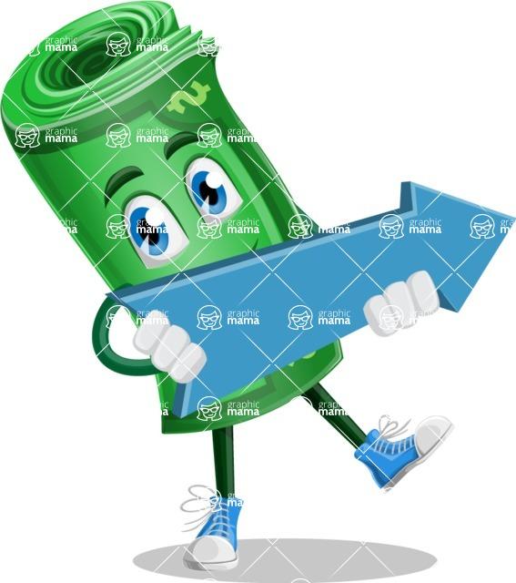 Money Cartoon Vector Character - with Forward Arrow