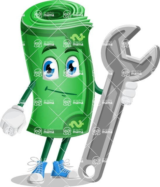 Money Cartoon Vector Character - 112 Illustrations - with Repairing tool - wrench