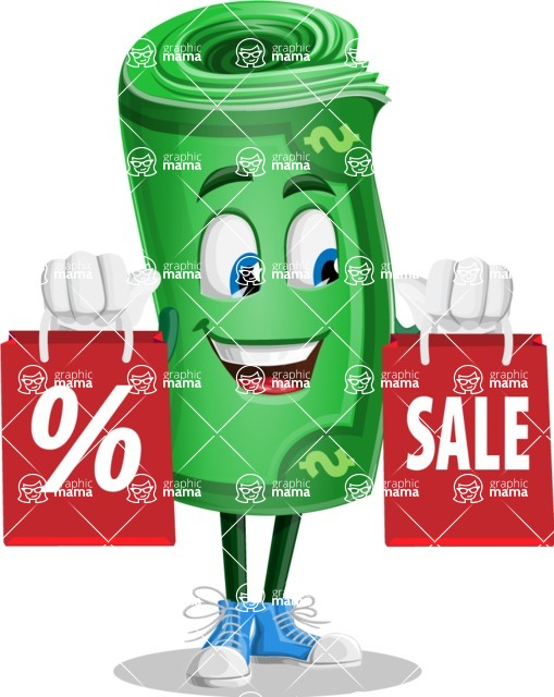Money Cartoon Vector Character - 112 Illustrations - With Shopping Bags