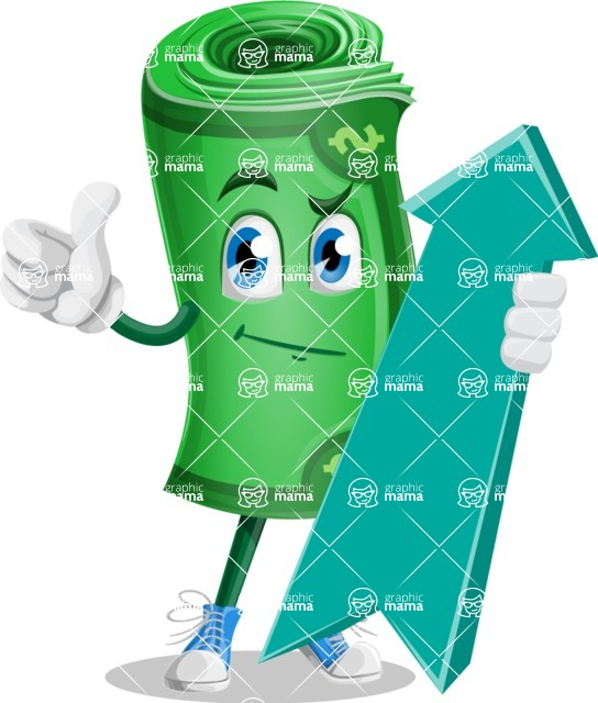Money Cartoon Vector Character - 112 Illustrations - with Up arrow