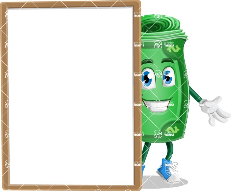 Money Cartoon Vector Character - With Whiteboard and Smiling