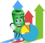 Money Cartoon Vector Character - as Markering Specialist with Graphs Illustration
