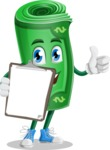 Money Cartoon Vector Character - Being Happy and Showing a Notepad
