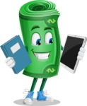 Money Cartoon Vector Character - Choosing between Book and Tablet