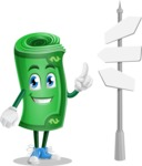 Money Cartoon Vector Character - Choosing Way with Street Sign pointing in all directions
