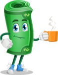 Money Cartoon Vector Character - Drinking Cup of Coffee