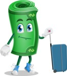 Money Cartoon Vector Character - Going to vacation with a Suitcase
