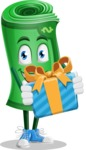 Money Cartoon Vector Character - Holding a Gift