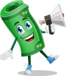 Money Cartoon Vector Character - Holding a Loudspeaker