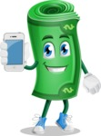 Money Cartoon Vector Character - Holding a Mobile Phone