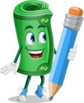 Money Cartoon Vector Character - Holding a Pencil