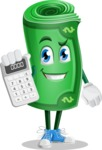 Money Cartoon Vector Character - Holding Calculator