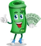 Money Cartoon Vector Character - Holding Cash Money Banknotes