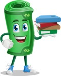 Money Cartoon Vector Character - Holding Education Books