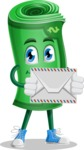 Money Cartoon Vector Character - Holding Mail Envelope