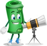 Money Cartoon Vector Character - Looking through telescope