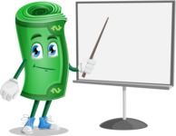 Money Cartoon Vector Character - Pointing with a Pointer on Blank Presentation Board