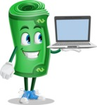 Money Cartoon Vector Character - Presenting on Laptop