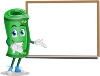 Money Cartoon Vector Character - Presenting on Whiteboard