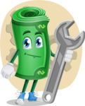 Money Cartoon Vector Character - Fixing Issues Concept Illustration
