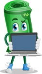 Money Cartoon Vector Character - Showing a Blank Computer Screen