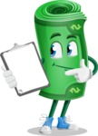 Money Cartoon Vector Character - Showing a Notepad
