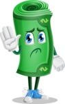 Money Cartoon Vector Character - Waving for Goodbye with a Hand